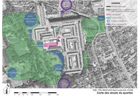 ARVAL architecture - NPNRU – Etude quartier Saint-Lucien – Beauvais - 5 1509-St Lucien-analyse urbaine-carte des atouts