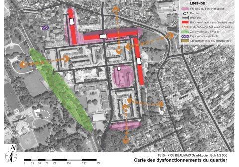 ARVAL architecture - NPNRU – Etude quartier Saint-Lucien – Beauvais - 6 1509-St Lucien-analyse urbaine-carte des dysfonctionnements