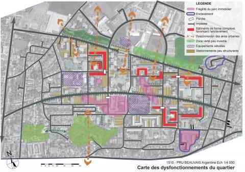 ARVAL architecture - NPNRU – étude quartier Argentine – Beauvais - 6 ARVAL NPRU Argentine-carte des dysfonctionnements