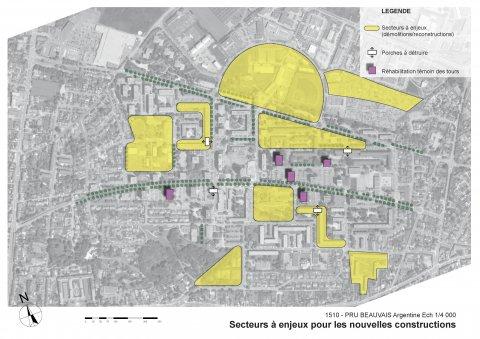 ARVAL architecture - NPNRU – étude quartier Argentine – Beauvais - 7 ARVAL NPRU Argentine-carte des secteurs à enjeux