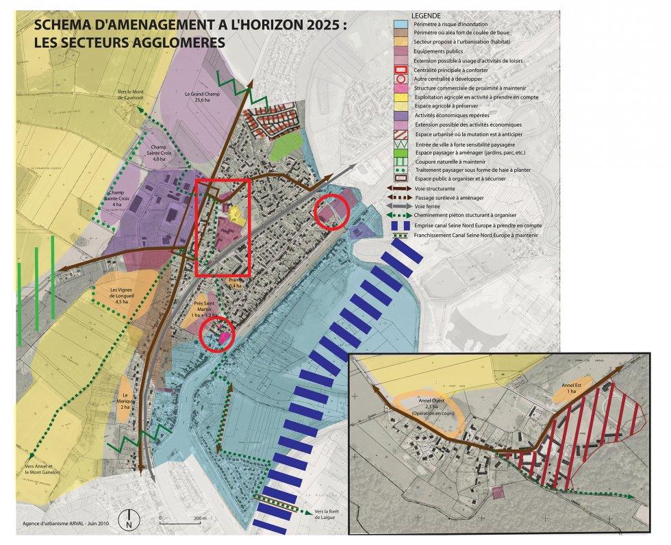 ARVAL architecture - PLAN LOCAL D'URBANISME (PLU) – LONGUEIL-ANNEL (60) - 2 Carte du PADD sur les secteurs agglomérés