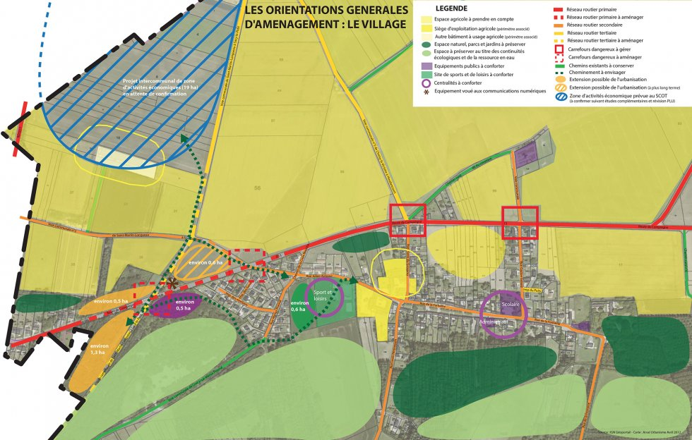 ARVAL architecture - PLAN LOCAL D'URBANISME (PLU) – BAZICOURT (60) - 1 Carte du PADD à l'échelle du village.