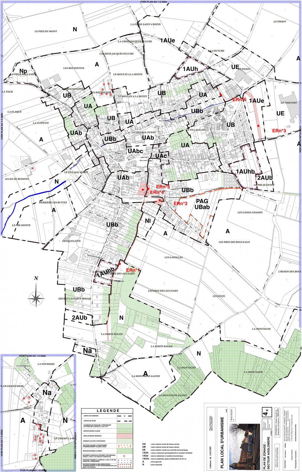 ARVAL architecture - PLAN LOCAL D'URBANISME (PLU) – LASSIGNY (60) - 3 PLU Lassigny plan de zonage 2000eme
