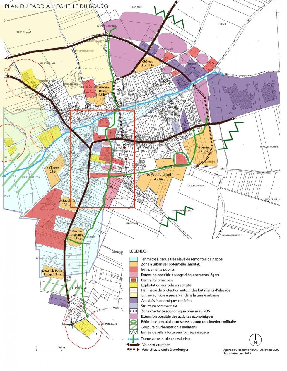ARVAL architecture - PLAN LOCAL D'URBANISME (PLU) – LASSIGNY (60) - 2 PLU Lassigny carte du PADD à l'échelle du village