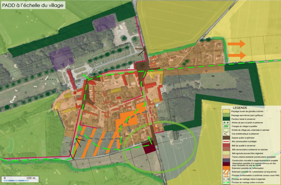 ARVAL architecture - PLAN LOCAL D'URBANISME (PLU) – RARAY (60) - 3 PLU Raray - extrait du PADD - carte du PADD à l'échelle du village