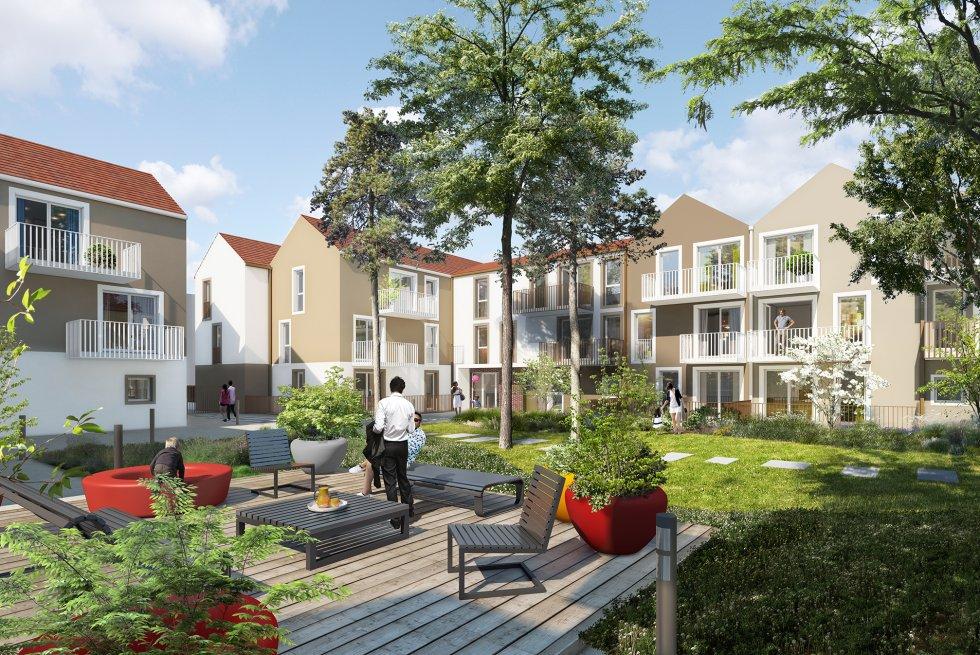 ARVAL architecture - Logements – Plessis Belleville - 3 ARVAL Logements Plessis Belleville - vue en coeur d'ilot