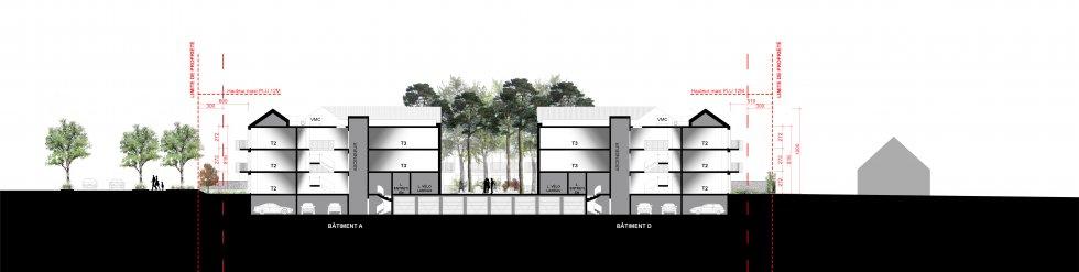 ARVAL architecture - Logements – Plessis Belleville - 7 ARVAL Logements Plessis Belleville - coupe transversale