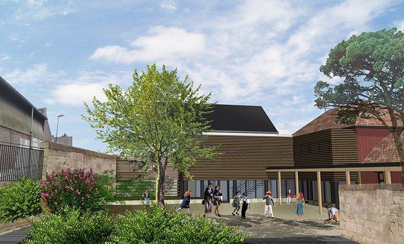 ARVAL architecture - Institution Notre Dame – Noyon - 2 ARVAL Ecole Notre Dame Noyon vue école cour de récréation