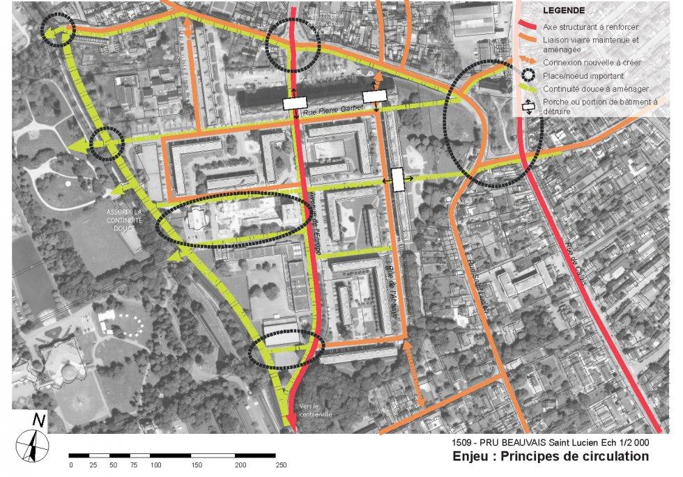 ARVAL architecture - NPNRU – Etude quartier Saint-Lucien – Beauvais - 7 1509-St Lucien-analyse urbaine-principes de circulation