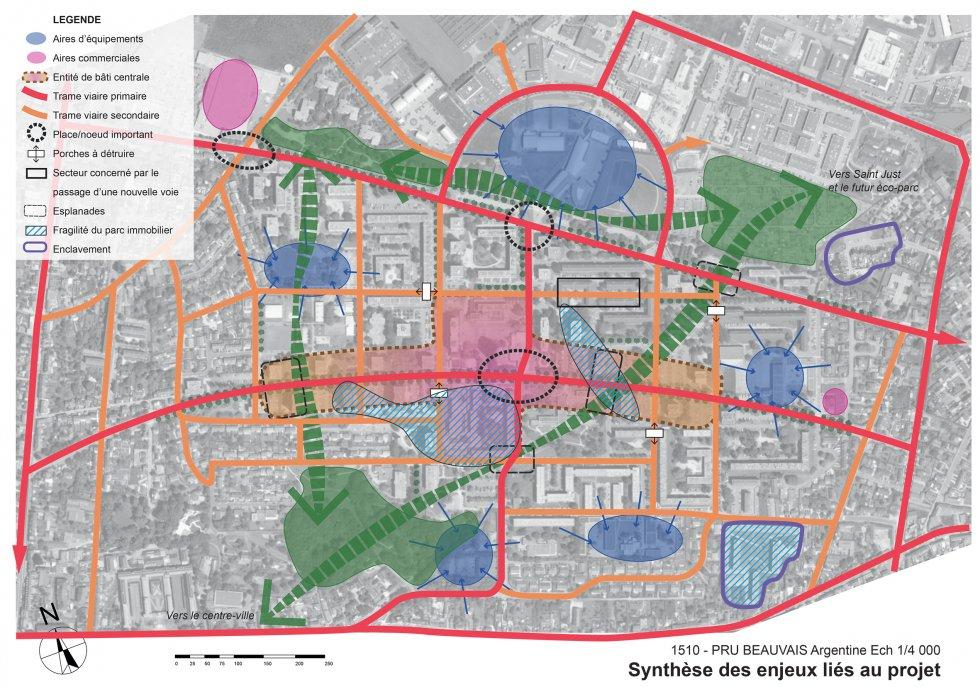 ARVAL architecture - NPNRU – étude quartier Argentine – Beauvais - 8 ARVAL NPRU Argentine-carte de synthèse des enjeux