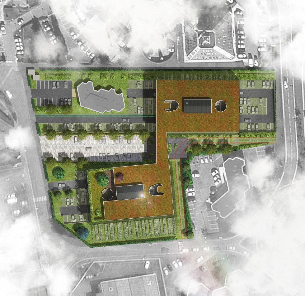 ARVAL architecture - Pôle Eiffel – Compiègne - 1 ARVAL Concours pour la construction du futur Pôle Eiffel à Compiègne plan de masse