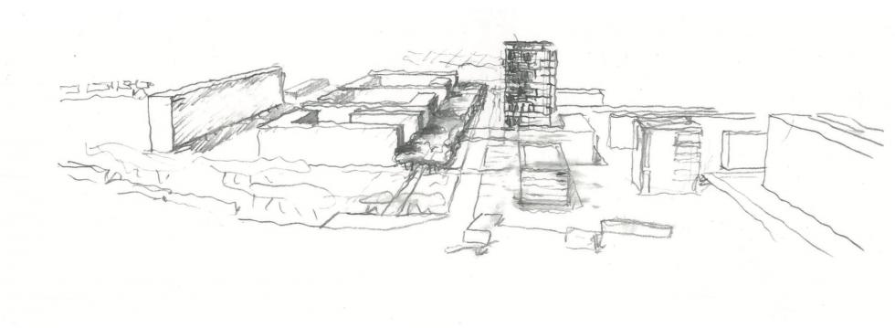 ARVAL architecture - NPNRU – Etude quartier Saint-Lucien – Beauvais - 11 1509-St Lucien-analyse urbaine-croquis scénario 1 variante