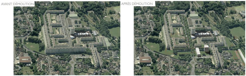 ARVAL architecture - NPNRU – Etude quartier Saint-Lucien – Beauvais - 16 /1509-St Lucien-analyse urbaine-vue avant/après démolition