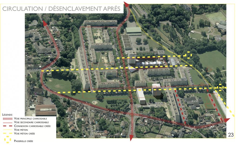 ARVAL architecture - NPNRU – Etude quartier Saint-Lucien – Beauvais - 18 /1509-St Lucien-analyse urbaine-vue désenclavement