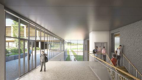 ARVAL architecture - Le nouveau collège – Crèvecoeur-le-Grand - 6 ARVAL-Nouveau collège de Crèvecoeur-le-Grand-vue hall salle de sport