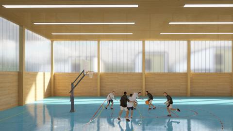 ARVAL architecture - Le nouveau collège – Crèvecoeur-le-Grand - 7 ARVAL-Nouveau collège de Crèvecoeur-le-Grand-vue salle de sport