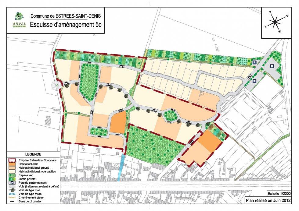 ARVAL architecture - Etude d'Aménagement – Estrées-Saint-Denis (60) - 1 Esquisse d'aménagement