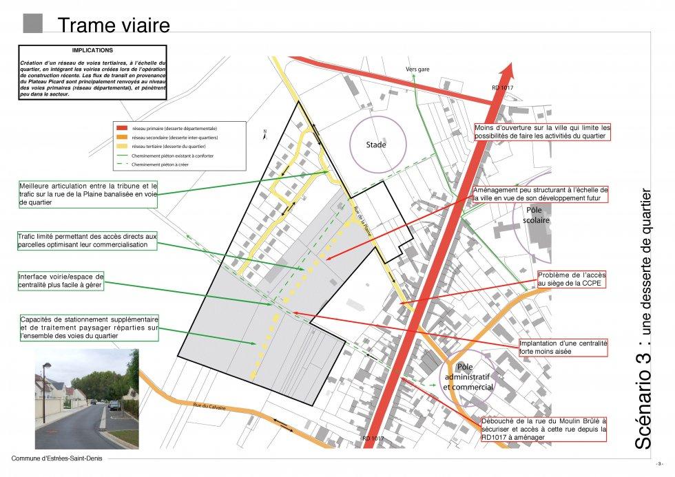ARVAL architecture - Etude d'Aménagement – Estrées-Saint-Denis (60) - 2 Diagnostic : trame viaire - scénario 3