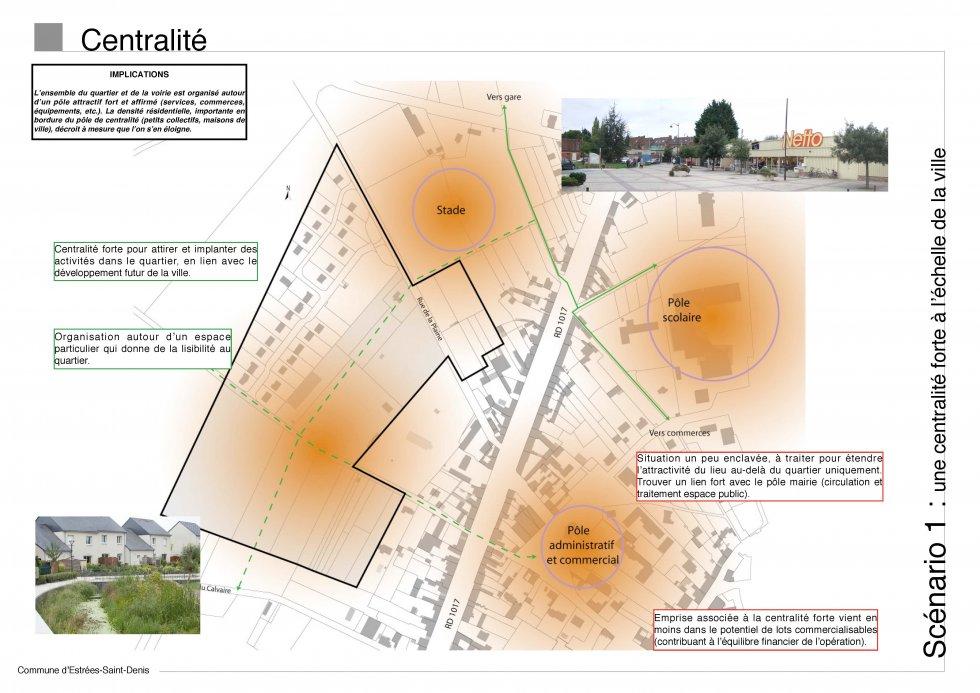 ARVAL architecture - Etude d'Aménagement – Estrées-Saint-Denis (60) - 3 Diagnostic : centralisé - scénario 1