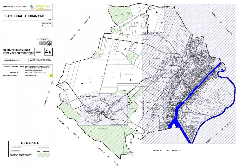 ARVAL architecture - PLAN LOCAL D'URBANISME (PLU) – LONGUEIL-ANNEL (60) - 3 Plan de zonage - ensemble du territoire