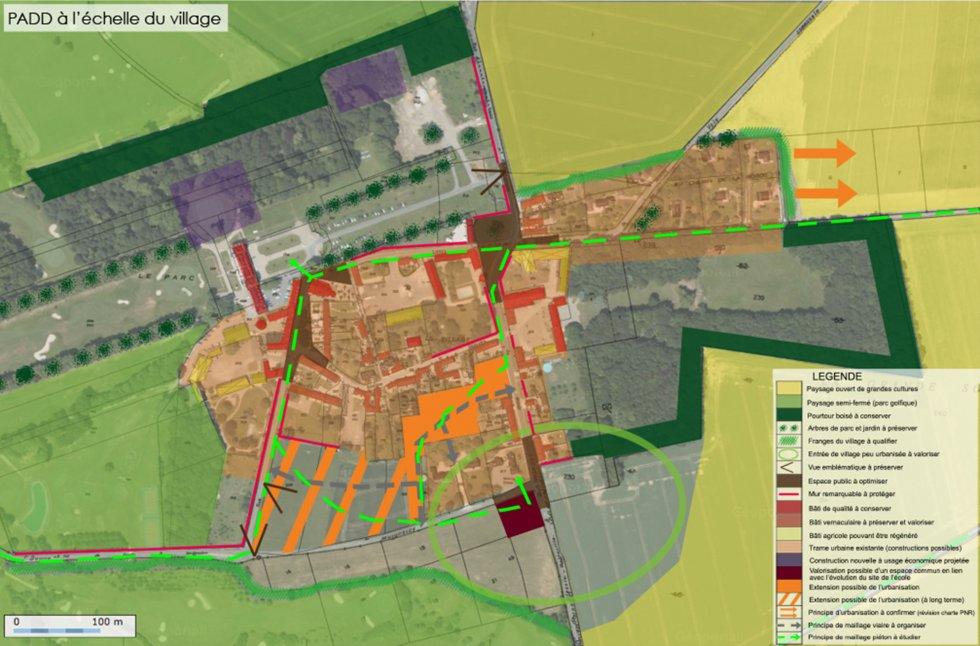 ARVAL architecture - PLAN LOCAL D'URBANISME (PLU) – RARAY (60) - 3 PLU Raray - extrait du PADD - carte du PADD à l'échelle du village