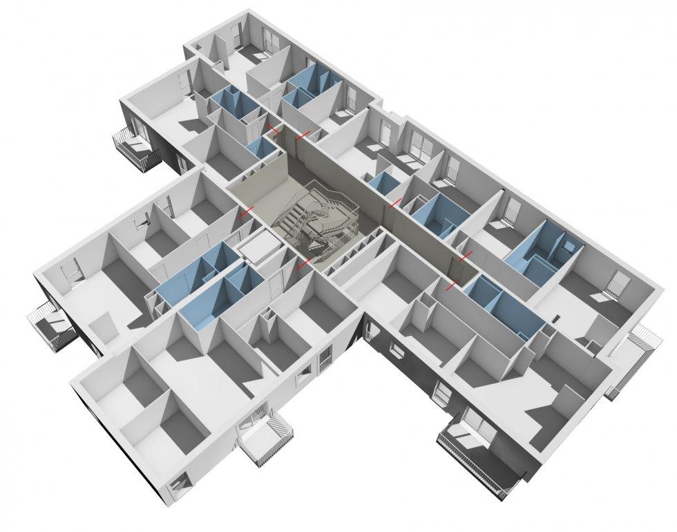 ARVAL architecture - Logements – Plessis Belleville - 5 ARVAL Logements Plessis Belleville - axonométrie étage