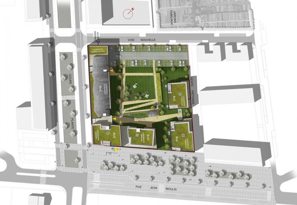 ARVAL architecture - Résidence intergénérationnelle – Amiens - 1 ARVAL Résidence intergénérationnelle à Amiens plan masse