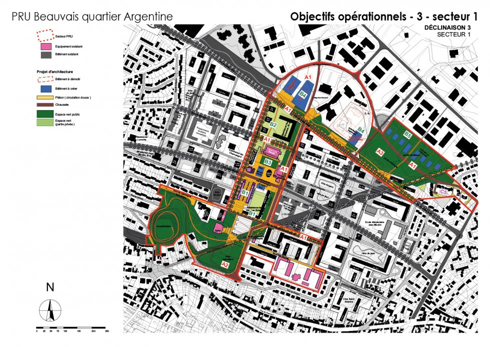 ARVAL architecture - NPNRU – étude quartier Argentine – Beauvais - 10 ARVAL NPRU Argentine-onjectifs opérationnels secteur 1
