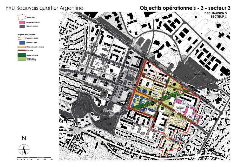 ARVAL architecture - NPNRU – étude quartier Argentine – Beauvais - 12 ARVAL NPRU Argentine-onjectifs opérationnels secteur 3