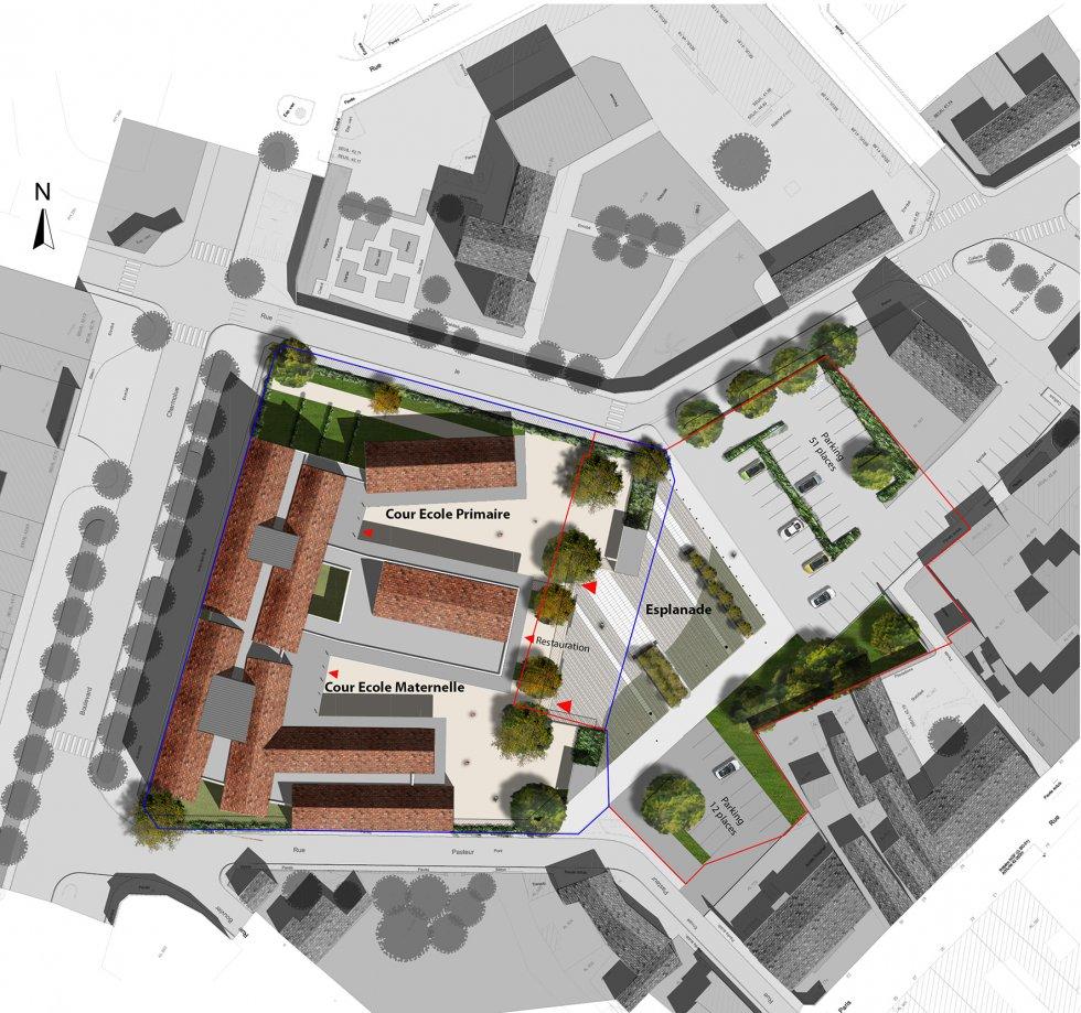 ARVAL architecture - Ecoles St. Exupéry et Weissenburger – Noyon - 2 ARVAL Ecole Weissenburger à Noyon - plan de masse