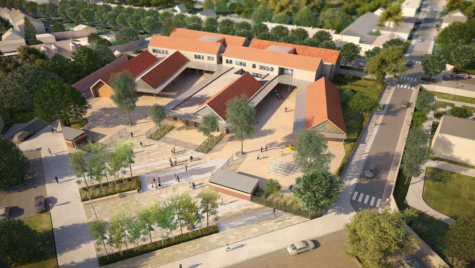 ARVAL architecture - Ecoles St. Exupéry et Weissenburger – Noyon - 3 ARVAL Ecole Weissenburger à Noyon - pers aérienne