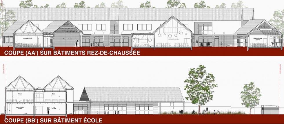 ARVAL architecture - Ecoles St. Exupéry et Weissenburger – Noyon - 5 ARVAL Ecole Weissenburger à Noyon - coupes