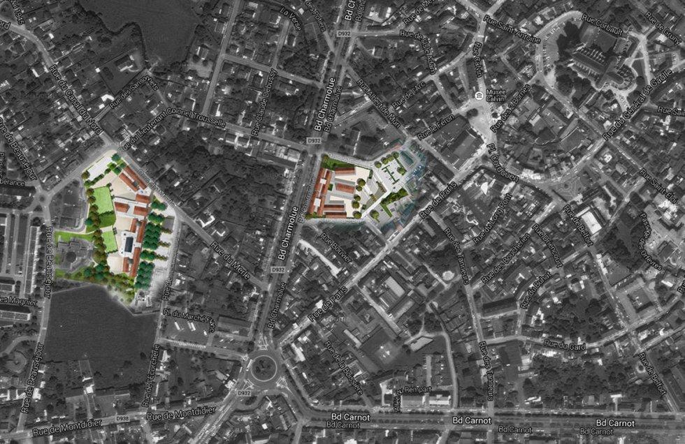 ARVAL architecture - Ecoles St. Exupéry et Weissenburger – Noyon - 1 ARVAL Ecole St Exupéry et Weissenburger à Noyon  - plan de situation