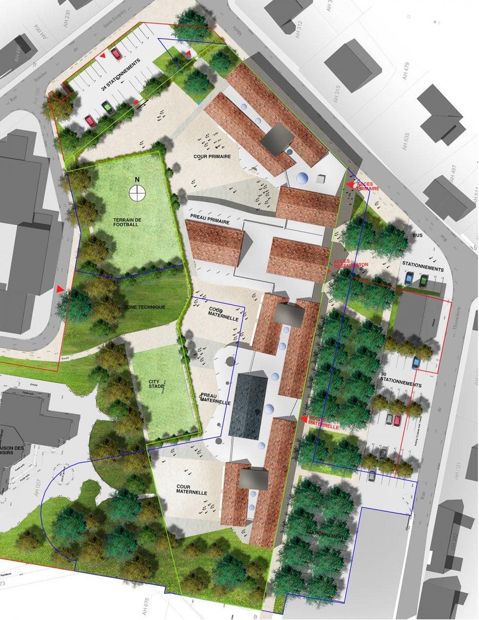 ARVAL architecture - Ecoles St. Exupéry et Weissenburger – Noyon - 6 ARVAL Ecole St Exupéry à Noyon  - plan de masse