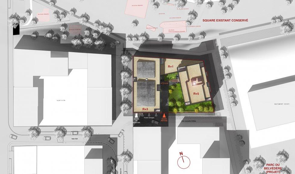ARVAL architecture - 44 logements – Amiens - 3 ARVAL 44 logements à Amiens ZAC de la Gare de la Vallé Lot A32 plan de masse