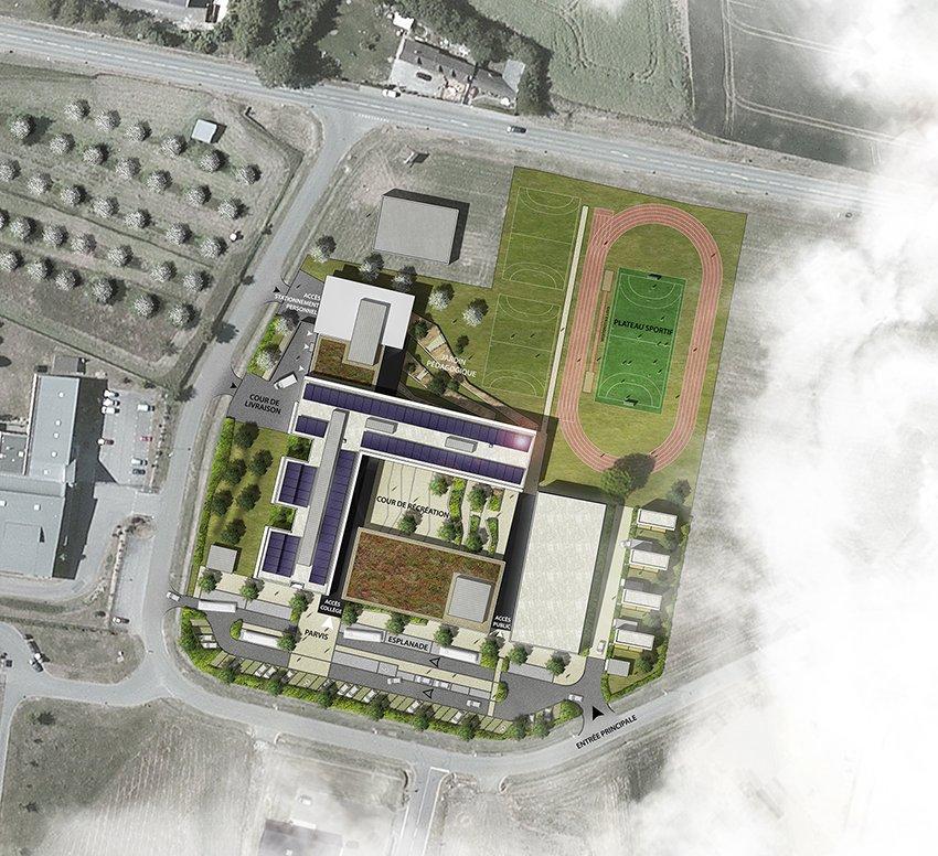 ARVAL architecture - Le nouveau collège – Crèvecoeur-le-Grand - 2 ARVAL-Nouveau collège de Crèvecoeur-le-Grand-plan de masse