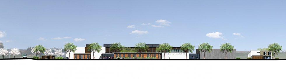 ARVAL architecture - Le nouveau collège – Crèvecoeur-le-Grand - 4 ARVAL-Nouveau collège de Crèvecoeur-le-Grand-elévation sud