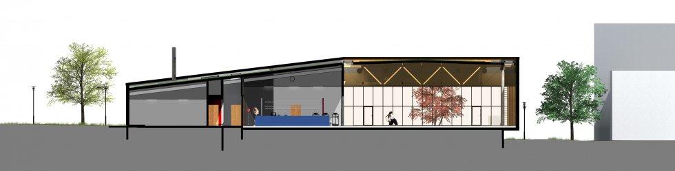 ARVAL architecture - Maison d'arts martiaux – Crépy-en-Valois - 4 ARVAL-Salle d'arts martiaux et sports de combat à Crépy-en-Valois-coupe