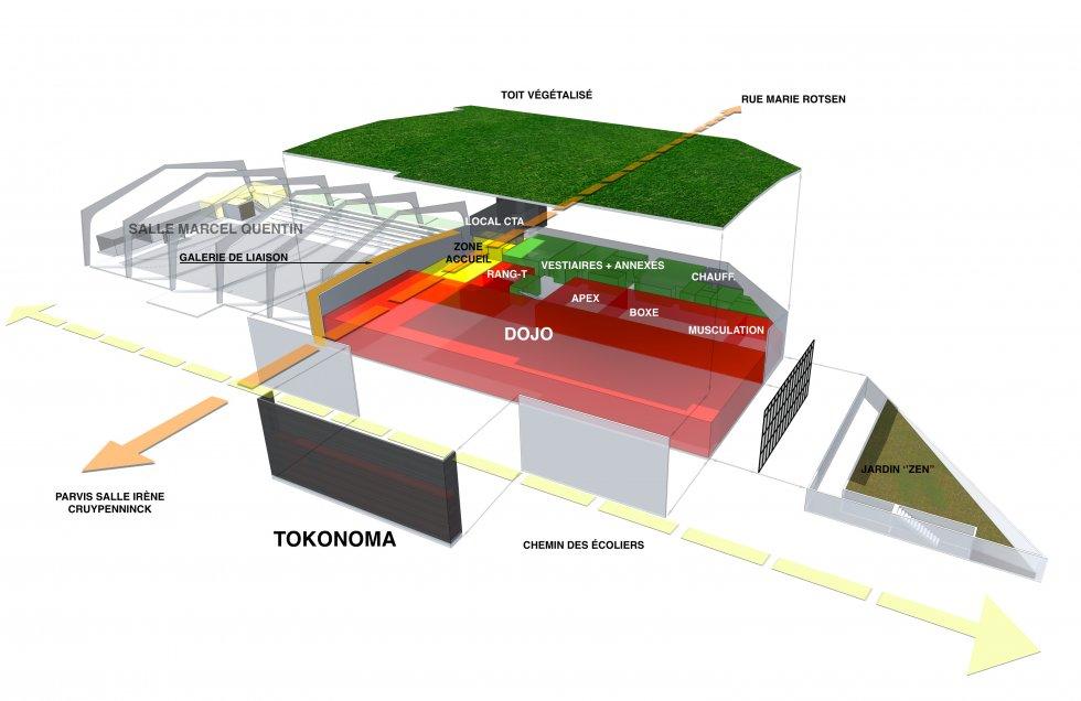 ARVAL architecture - Maison d'arts martiaux – Crépy-en-Valois - 3 ARVAL-Salle d'arts martiaux et sports de combat à Crépy-en-Valois-schéma