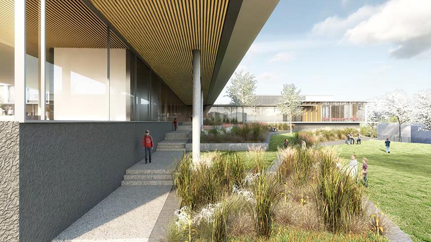 ARVAL architecture - Le nouveau collège – Crèvecoeur-le-Grand - 8 ARVAL-Nouveau collège de Crèvecoeur-le-Grand-vue jardin