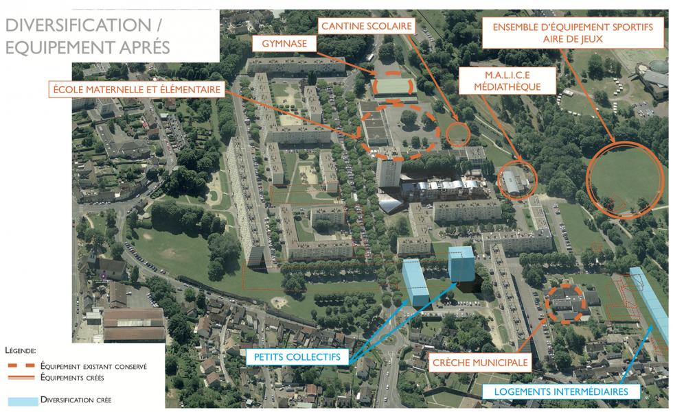 ARVAL architecture - NPNRU – Etude quartier Saint-Lucien – Beauvais - 17 /1509-St Lucien-analyse urbaine-vue diversification/équipements