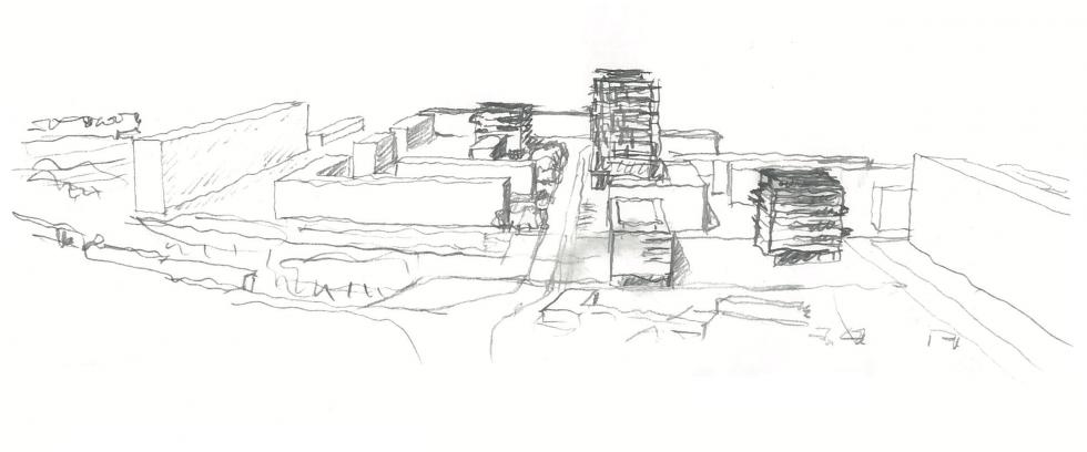 ARVAL architecture - NPNRU – Etude quartier Saint-Lucien – Beauvais - 10 1509-St Lucien-analyse urbaine-croquis scénario 1